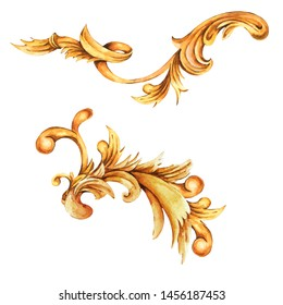 Watercolor golden baroque floral curl, rococo ornament element. Hand drawn gold scroll, leaves isolated on white background. Vintage design collection. Classic corner
