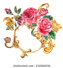 Watercolor golden baroque floral curl and red roses round frame, rococo ornament. Natural gold scroll, leaves isolated on white background. Vintage greeting card
