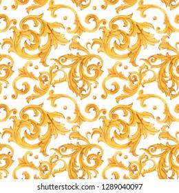 Watercolor golden baroque pattern, rococo ornament. Rich luxury print