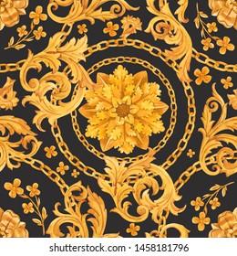 Watercolor golden baroque pattern, rococo ornament. Rich luxury print. dark background