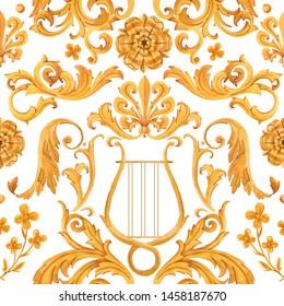 Watercolor golden baroque pattern, rococo ornament. Rich luxury print. Urfa Rococo style
