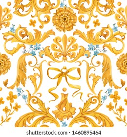 Watercolor golden baroque pattern, rococo ornament. Rich luxury print. Urfa Rococo style. blue flowers of forget-me-not