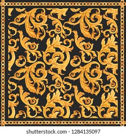 Watercolor golden baroque pattern, square scarf, golden chain, rococo ornament on a black background. Rich luxury print