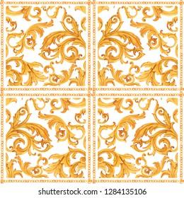 Watercolor golden baroque pattern, square scarf, golden chain, rococo ornament . Rich luxury print
