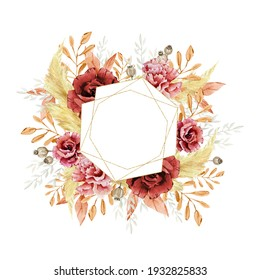 Watercolor golden bohemian frame red rose and dusty wild floral, branches, leaves, foliage. Burgundy autumn for wedding card, bridal card.