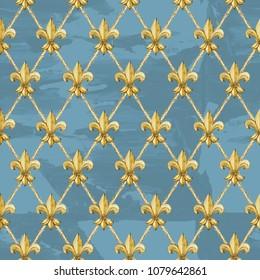 watercolor golden fleur-de-lis pattern. Gold royal lily seamless background