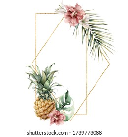 Watercolor golden frame with pineapple, hibiscus, bougainvillea and palm leaf. Hand painted tropical card with flowers isolated on white background. Floral illustration for design, print, background.