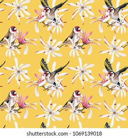 Watercolor Goldfinch & Royal Star Magnolia flower seamless pattern on yellow background. Pastel Brown, Pink, Yellow & White backdrop. Cloth & rug design. Oriental style. Hand drawn illustration.