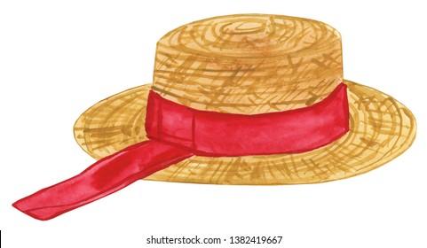 Watercolor Gondolier Hat Illustration, Gondolier Hat Clipart