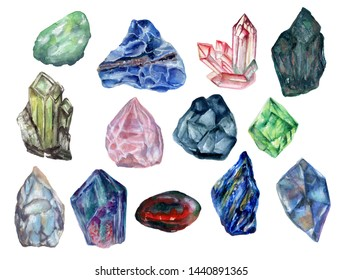 Watercolor gouache isolate colorful Crytal cluster Gemstone Stone elements on white background hand drawn