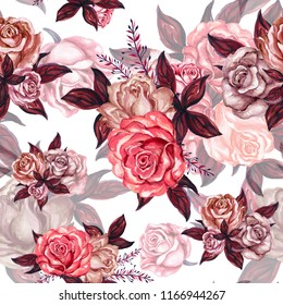 Watercolor gouache vintage rose seamless background pattern  hand drawn white background