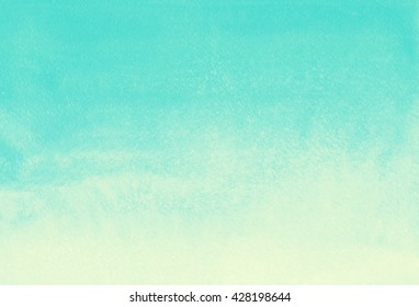 Watercolor gradient abstract background. Mint green and yellow painted template. Summer, holiday backdrop. Vertical gradient fill. Hand drawn watercolour texture.