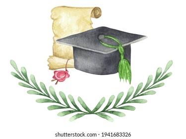 Watercolor graduation cap with diploma and laurel wteath. Hand drawn school illustration. Grading.