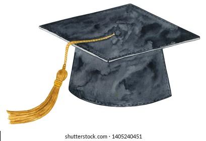 Watercolor Graduation Cap Illustration, Graduation Cap Clipart
