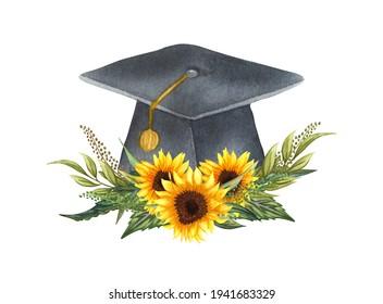 Watercolor graduation cap with sunflower wteath. Hand drawn school illustration. Grading.