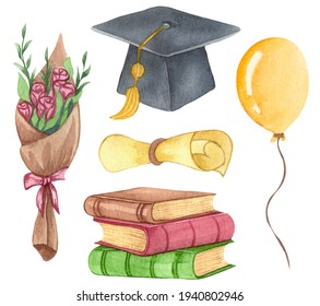 Watercolor Graduation set of Graduation cap, flowers, balloons and stack of books. Hand drawn school illustration.