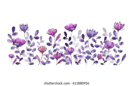 Watercolor graphic floral border, purple and violet colors