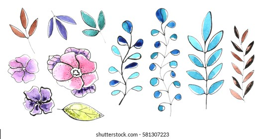 Watercolor graphic floral set with branches, flowers and leaves.