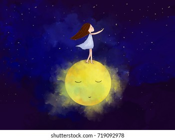 watercolor graphic illustration of lonely girl with yellow moon in dark blue sky night view. Idea of art, peaceful, friendship, imagination, fantasy, dream, alone, tranquil concept wallpaper template