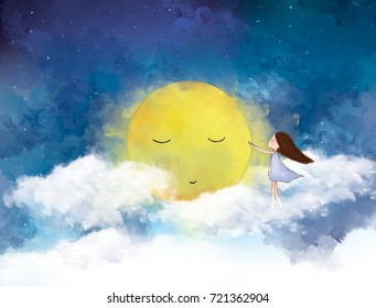 watercolor graphic illustration of lonely girl with yellow moon in white clouds blue sky night view. Idea of peaceful, friendship, imagination, fantasy, dream, tranquil concept wallpaper template