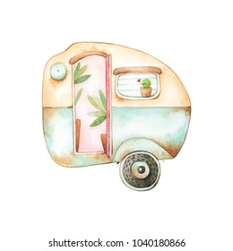 Watercolor graphics of a small retro style blue and yellow rusty caravan with a couple of plants inside and a cactus in a window