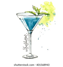Watercolor grasshopper cocktail illustration. It can be used for menu, card, postcard, banner, poster.