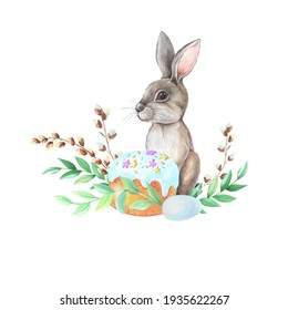 Watercolor gray Hare,Easter cake,leaves,willow tree on white background. Isolated of grey Rabbit. Watercolour Spring Illustration with wild forest animal. Hand Drawn design for holiday,print,cards.