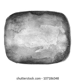 Watercolor grayscale blank rounded rectangle shape on white background.