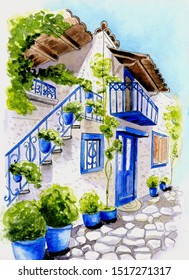 Watercolor greek house in summer
