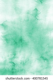 Watercolor green abstract background.