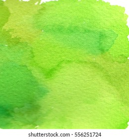 Watercolor green background drawn of hand.