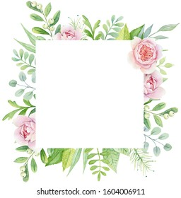 Watercolor green botanical floral frame with gentle pink peonies