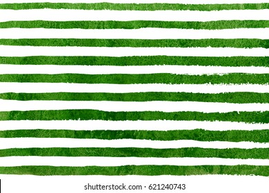 Watercolor green brush strokes on white background. Hand drawn grunge stripes pattern for fabric print, textile design, fashion.