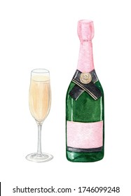 watercolor green champagne bottle with glass set isolated on white background