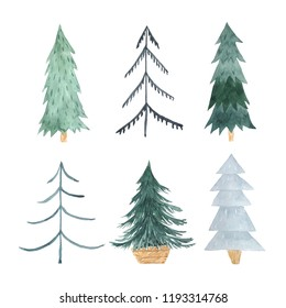 Watercolor green Christmas Tree set in scandihavian hugge style. Decorative simple cute evergreen forest tree collection. Winter holiday elements perfect for new year design project and card making