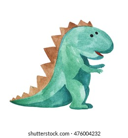 watercolor green dinosaur on white background. child's drawing.