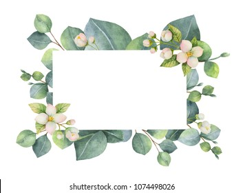 Watercolor green floral card with eucalyptus leaves, Jasmine flowers and branches isolated on white background. Illustration for cards, wedding invitation, save the date or greeting design.