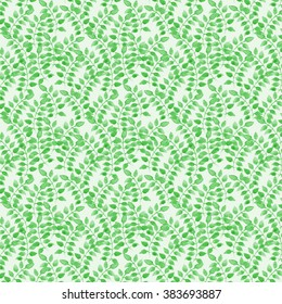 Watercolor green herbs pattern. For the design of wallpaper, wrapping paper, textiles, etc.