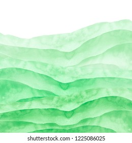 Watercolor green hill, hillock, grass. Summer landscape on white isolated background. Watercolor landscape with mountains.The template for the poster, cover, advertising. Misty hill, country landscape