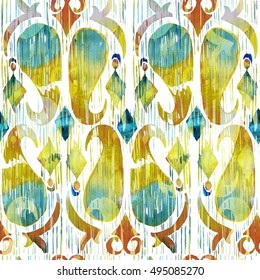 Watercolor green ikat vibrant seamless pattern. Trendy tribal pattern in watercolour style. Peacock feather.