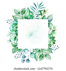 Watercolor Green illustration.Pre-made frame border with succulent plants,palm leaves,branches.Perfect for wedding,quotes,Birthday and invitation cards,greeting cards,print,blogs,bridal cards,logo etc