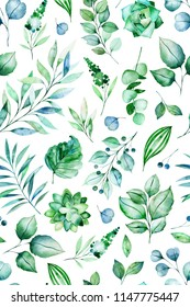 Watercolor Green illustration.Seamless pattern with succulent plants,palm leaves,branches.Perfect for wedding,print and invitation cards,wallpaper,cover design,packaging and more