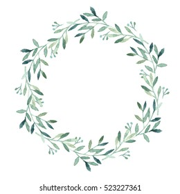 Watercolor green leaves wreath