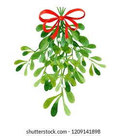 Watercolor green mistletoe with berries. Hand painted winter Merry Christmas and Happy New Year isolated illustration. Watercolor illustration. Perfect for invitations, greeting cards, blogs, posts.