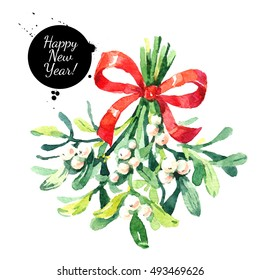 Watercolor green mistletoe berries. Hand painted sketch winter Merry Christmas and Happy New Year isolated illustration