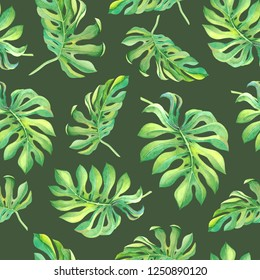 Watercolor green monstera leaves on khaki color background. Seamless tropical pattern for decoration