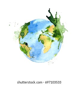 Watercolor green planet element. Hand drawing isolated illustration on white background for your design. International peace of day.