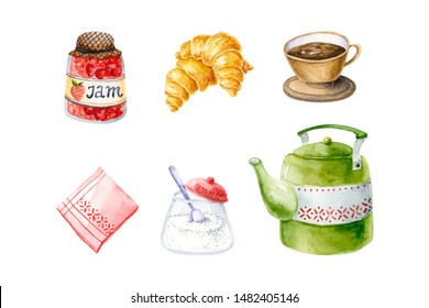 Watercolor green teapot, strawberry jam, croissant, sugar bowl, napkin, coffee cup. Isolated on white hand drawn illustration of breakfast food perfect for kitchen design, fabric textile, poster, logo