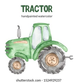 Watercolor green tractor clipart on white background