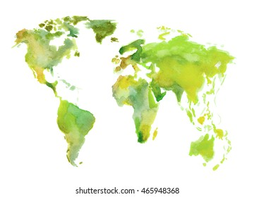 Watercolor green world map. Beautiful map with lands and islands. Watercolor illustration for decoration.